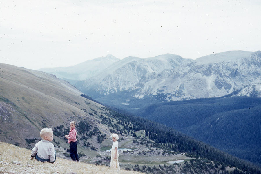 My brothers Jeff and Bill and I take the measure of Long's Peak in the Rocky Mountains in 1954.