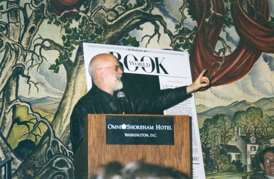 "Sir Terry Pratchett spoke to a packed house in 2003 as part of his book tour for ""Monstrous Regiment."""