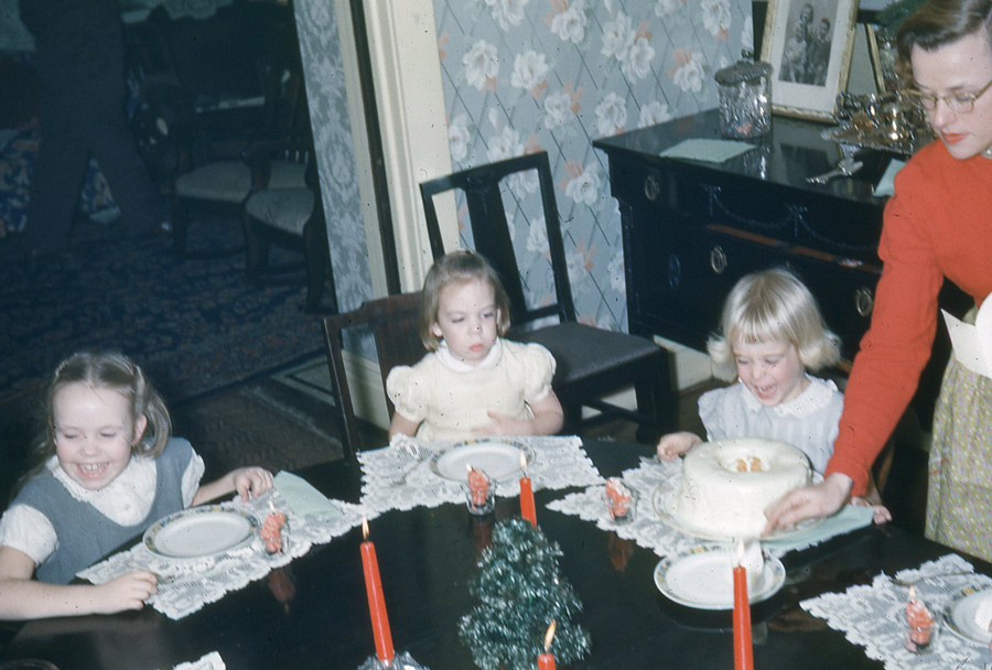 """Cake? For me?"" I was a happy camper at age four."