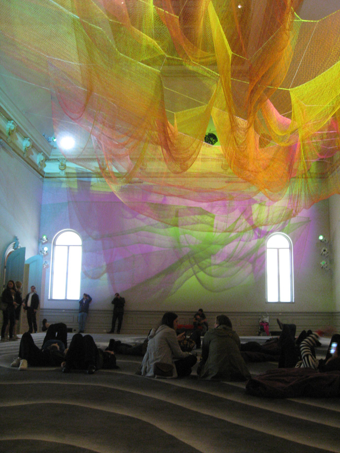 "Visitors fall under the spell of Janet Echelman's ""1.8."""