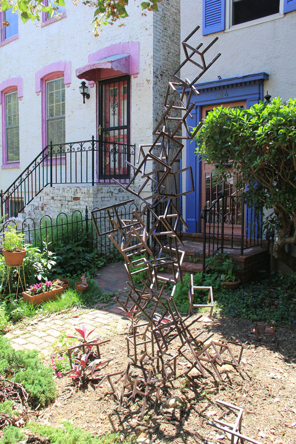 Mimi Frank's tumble of welled steel chairs recalls the myth of Cassiopeia.