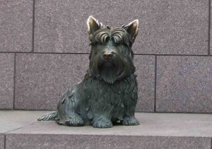 No ordinary dog, FDR's beloved Fala has a place of honor at the memorial.