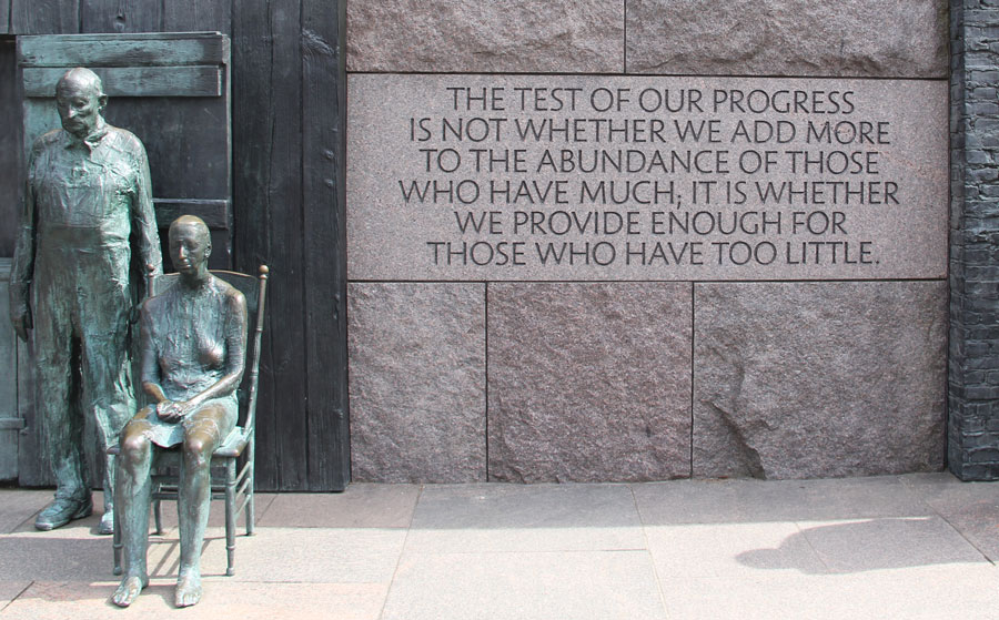 The Roosevelt Memorial in Washington, D.C., includes telling quotes from the New Deal era, as well as World War II.