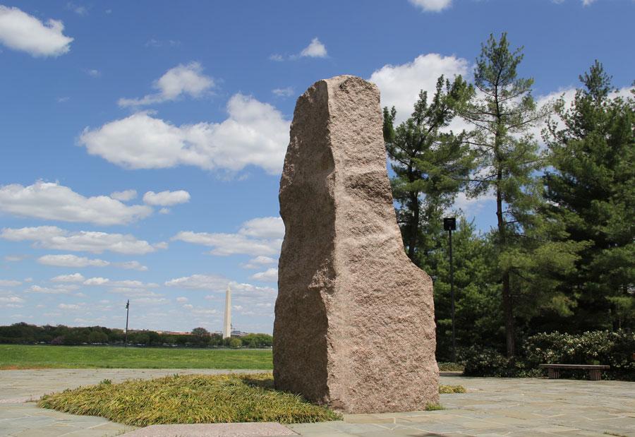 The Lyndon Baines Johnson Memorial Grove is a far cry from the Washington Monument.